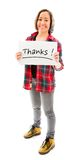 Young woman showing thanks sign on white background Royalty Free Stock Photo