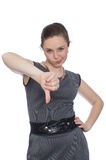 Young woman showing thumb down Stock Image