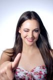 Young woman showing thumb up Royalty Free Stock Image