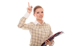 Young woman showing thumb up and keep documents Stock Photos