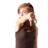 Young woman showing thumbs down Stock Image
