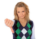 Young woman showing thumbs down Stock Images