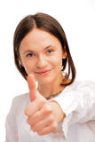 Young woman showing a thumbs up Stock Images