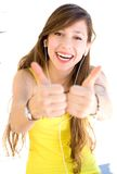 Young woman showing thumbs up Stock Photo
