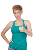 Young woman showing thumbs up Royalty Free Stock Photography
