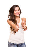 Young woman showing thumbs up Stock Photography