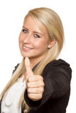 Young woman showing thumbs up with her hands. Young good-looking woman with 100 percent pure white background Stock Images