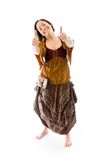 Young woman showing thumbs up sign with both hands Royalty Free Stock Images