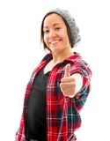 Young woman showing thumbs up sign and smiling Stock Image