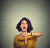 Young woman showing time out hand gesture, frustrated screaming Stock Image