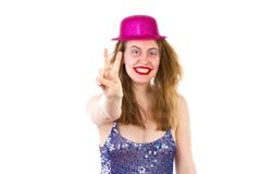 Young woman showing v sign Stock Photo