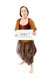 Young woman showing vote sign on white background Stock Photo