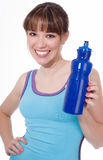 Young woman showing a water bottle Stock Photos