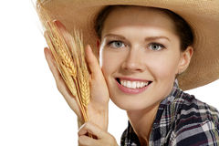 Young woman  showing wheat Royalty Free Stock Photography