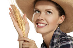 Young woman  showing wheat Royalty Free Stock Photo