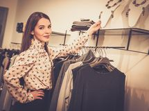 Young woman in a showroom Royalty Free Stock Photo