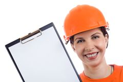 Young woman shows the clipboar. Young woman shows the blank page Stock Photo