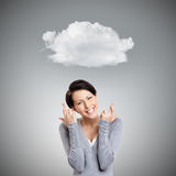 Young woman shows crossed fingers Stock Photos