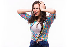 Young woman shows she does not want to hear from you. Royalty Free Stock Images