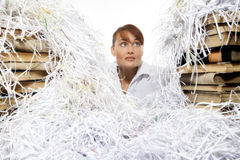 Young woman with shredded paper. Focus on face stock images