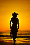 Young woman silhouette on the beach in summer Royalty Free Stock Images
