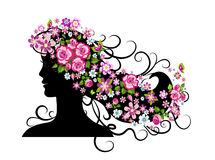 Young woman silhouette. Stock Images