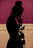 Young woman silhouette holding flower Stock Image