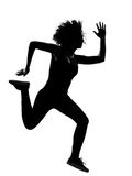 Young woman silhouette running Royalty Free Stock Photos