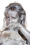Young woman with silver body paint Stock Photo