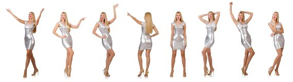 The young woman in silver dress isolated on white Stock Images