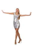 Young woman in silver dress isolated on white Royalty Free Stock Images