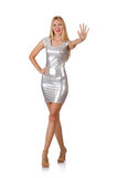 The young woman in silver dress isolated on white Royalty Free Stock Image