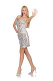 The young woman in silver dress isolated on white Royalty Free Stock Images