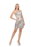 The young woman in silver dress isolated on white Royalty Free Stock Photography