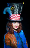 Young woman in the similitude of the Hatter Royalty Free Stock Image