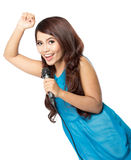 Young woman sing holding a mic, isolated Royalty Free Stock Image