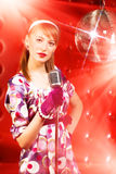 Young woman singer Royalty Free Stock Photos