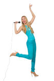 Young woman singer isolated Stock Image