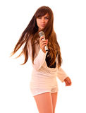 Young woman singing isolated Stock Photo
