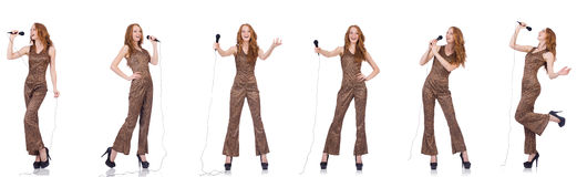 The young woman singing in karaoke isolated on white Royalty Free Stock Photos