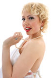 Young woman singing. Marilyn Monroe imitation Royalty Free Stock Images