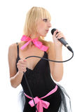 Young woman singing over white Royalty Free Stock Photos