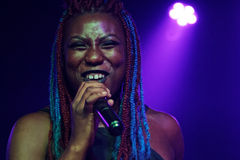 Young woman sings in a club of New Orleans Royalty Free Stock Image