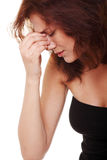 Young  woman with sinus pain Stock Photo