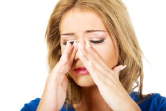 Young woman with sinus pain. Royalty Free Stock Images