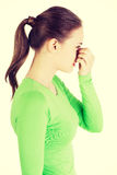 Young woman with sinus pressure pain Royalty Free Stock Photos