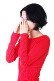 Young woman with sinus pressure pain Stock Images