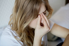 Young woman with sinus. Royalty Free Stock Photo