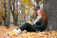 Young woman sit near tree in autumn park, yellow leaves royalty free stock photo