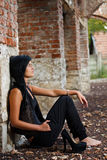 Young woman sitting royalty free stock image